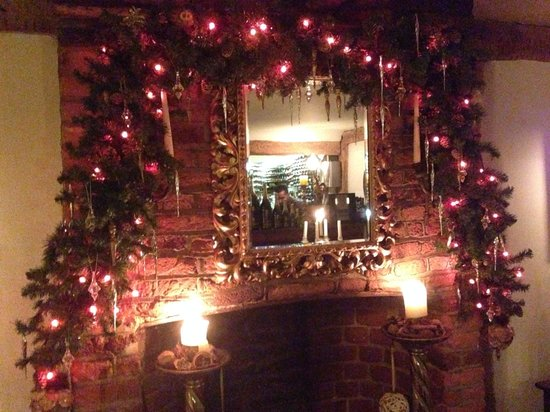 St Helena : Xmas open fire place decorated for Xmas !