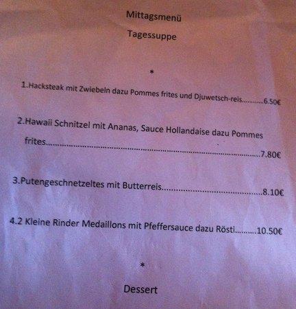 Nassauer Stuben: Mittagsmenü - the lunchtime menu