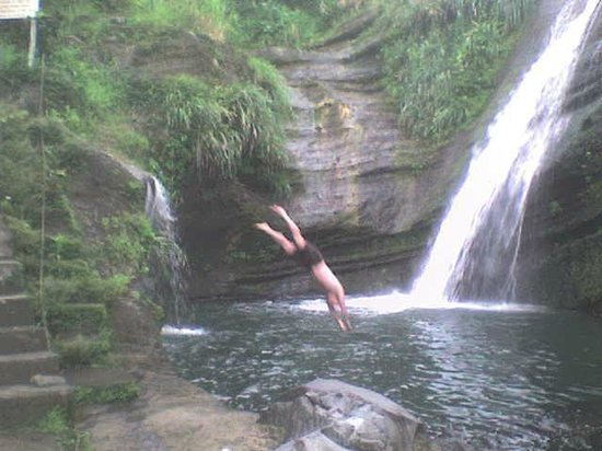 Saint George Parish, Grenada: Guest taking a dive - Private Tour of Concord Waterfall