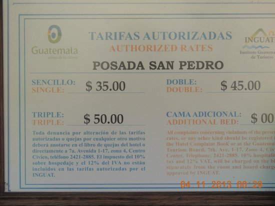 Hotel Posada San Pedro: On-wall tariff