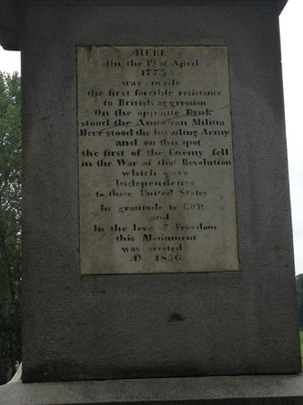 North Bridge : Inscription on the Minute Man statue