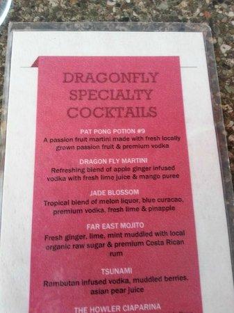 Dragonfly Thai Restaurant and Bar: Drink Specials Menu