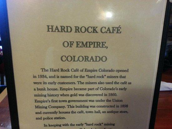 Hard Rock Cafe: Story of Cafe on Menu