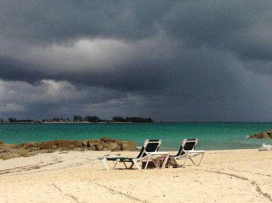 Sandals Royal Bahamian Spa Resort & Offshore Island: View from the beach below our room before the storm