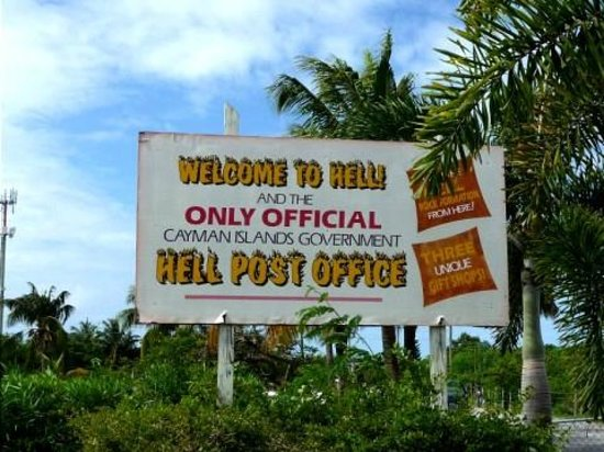 Sign in front of the Hell Post Office