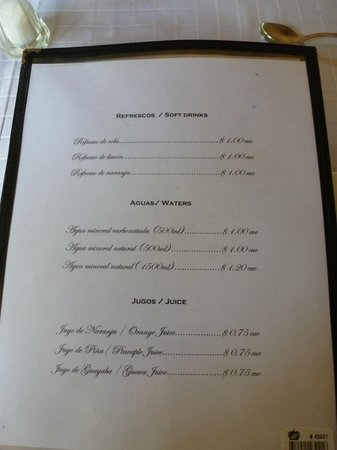 Brisas Sierra Mar Hotel: Oceano menu