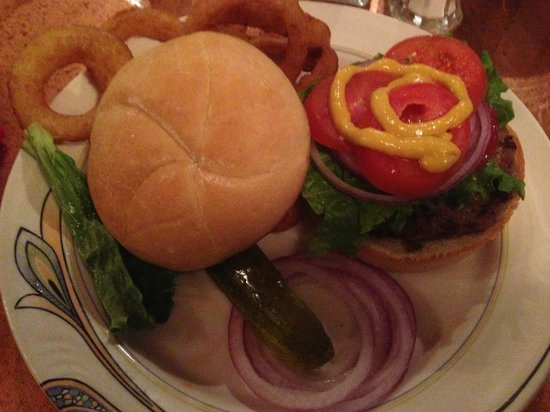 Dusters Resturant: Buffalo Burger with Onion Ring.  Yummy!!