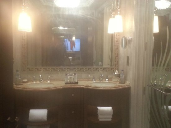 The St. Regis Abu Dhabi: Fabulous bathroom..see the tv?