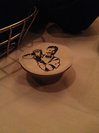 St. Elmo Steak House : butter dish with the St. Elmo logo