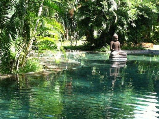 Pondok Sari Beach Bungalow Resort & Spa : statues in pool reflecting beauty