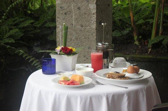 ONEWORLD retreats Kumara : Breakfast on my private balconey.