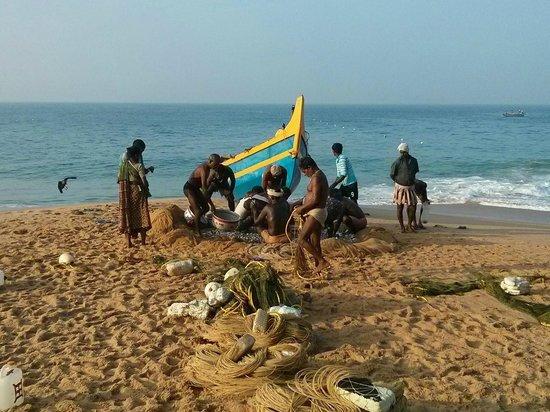 Bethsaida Hermitage: Morning fishing catch on hotel beach