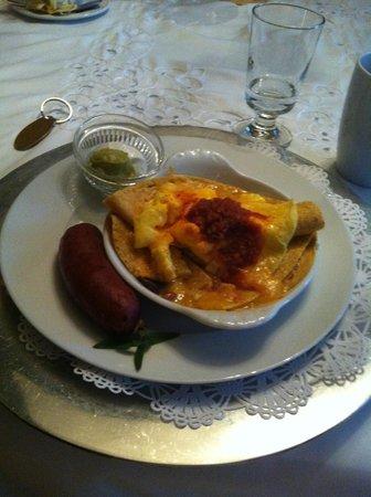 Eva's Escape at the Gardenia Inn: Huevos Rancheros with their own twist-- made gluten free too!