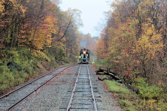 Adirondack Scenic Railroad: Turning the train around...the conductor is moving the engine to the back end of the train.