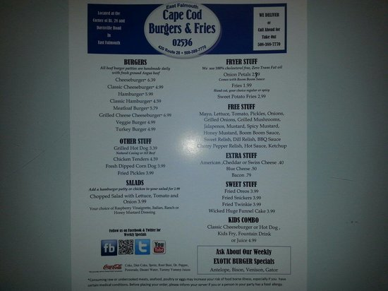 Cape Cod Burgers And Fries: Awesome menu :)