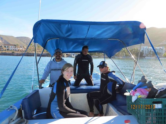 Cortez Club Scuba: Carlos the captain and Javier the guide with my family