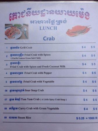 Koh Tonsay (Rabbit Island): Crab menu