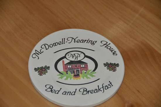 McDowell-Nearing House Bed and Breakfast: coasters with the B&B name on them