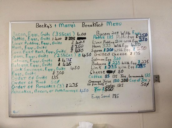 Becky's & Mary's Restaurant: Breakfast menu