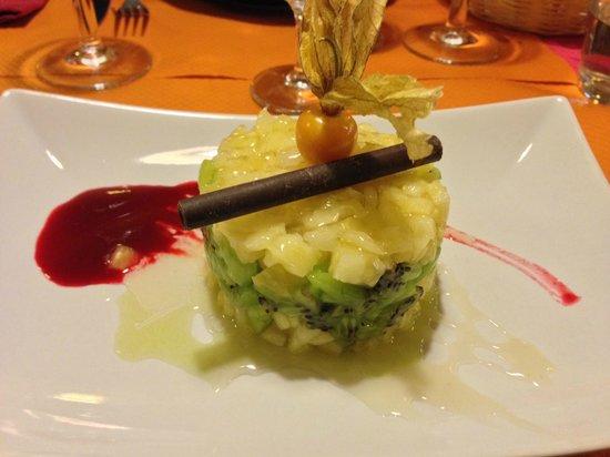 Au Grandgousier : Tartara di kiwi e ananas