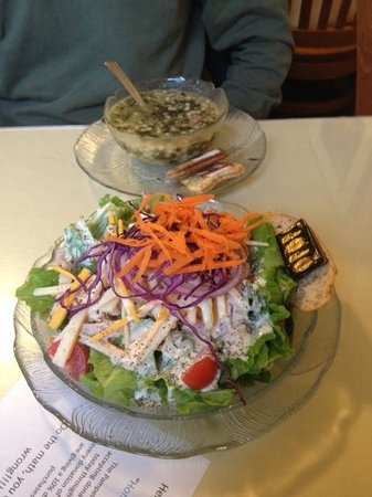 The Pampered Palate Cafe : Picture of Italian Wedding Soup and Chef Salad.