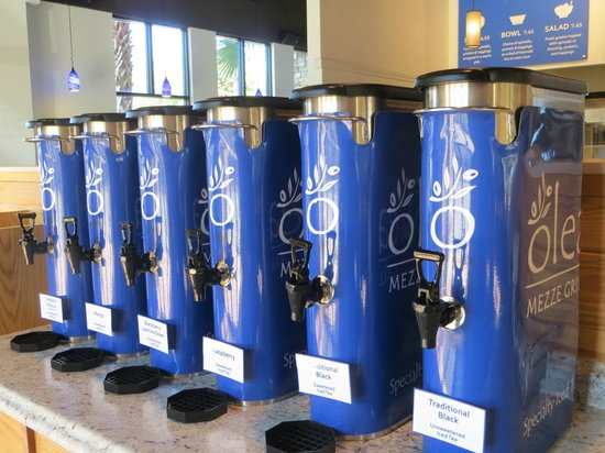 Olea Mezze Grill : Specialty iced tea bar... 6 flavors and free refills... and endless mixing possibilities!