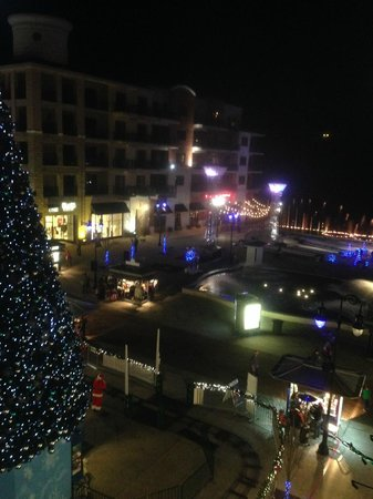 Hilton Promenade at Branson Landing: View from our Balcony toward the fountains in the background and Christmas tree.