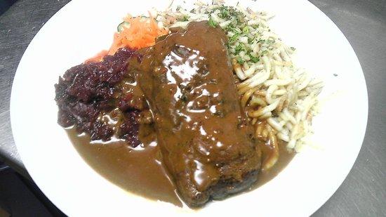 Taste of Berlin German Restaurant : Rinderroulade  Beef Roll, red cabbage,homemade spaetzle
