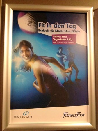 Motel One Nuernberg-City: Poster in the elevator: It says something about Fitness First, but I can't read German.