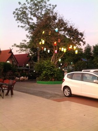 Pong Phen Guesthouse and Bungalows: lanterns in the trees