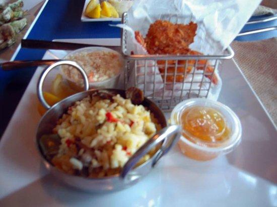 Phillippi Creek Village Restaurant & Oyster Bar : Coconut Shrimp and Rice Pilaf