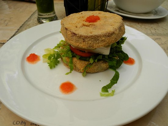 XVA Cafe: Eggplant burger with feta cheese