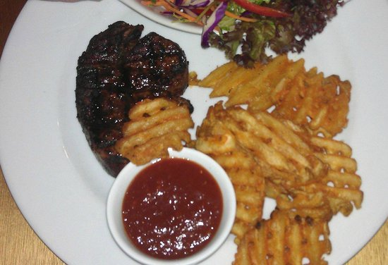 Rustlers Steakhouse and Grill : Prime fillet with BBQ sauce