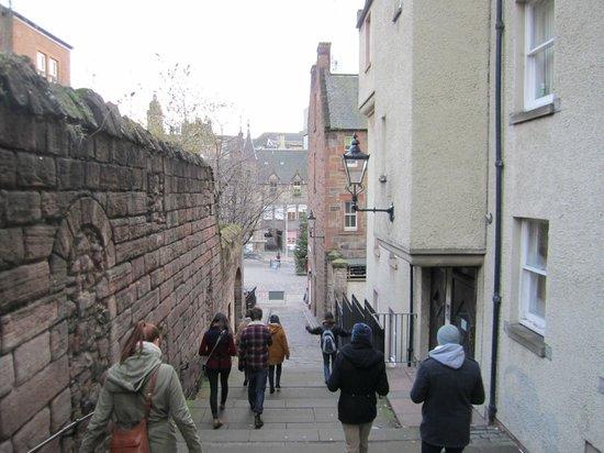 SANDEMANs NEW Europe - Edinburgh: Heading down steps to the Grassmarket