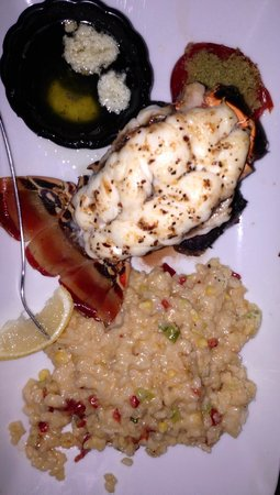 Seared 1200 Chophouse: Surf and Turf (Filet is beneath Caribbean Lobster) and Risotto