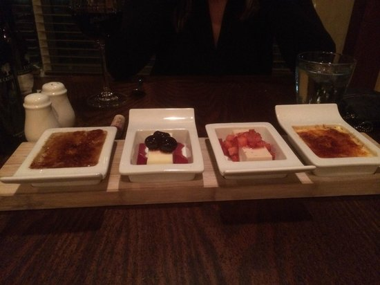 Taverna Banfi : A quartet of creme: two delicious panna cottas and two great creme brulees.