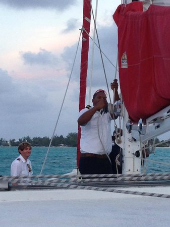 Red Sail Sports Grand Cayman : Catamaran, Sunset Sail, sails UP!
