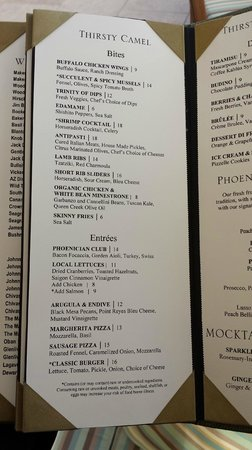 The Phoenician, Scottsdale: Thirsty Camel Lounge Menu (2 of 2)