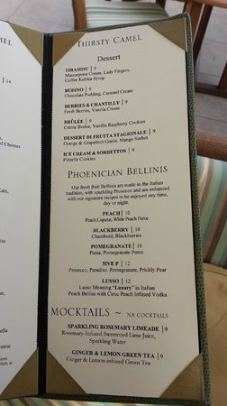 The Phoenician, Scottsdale: Thirsty Camel Lounge Menu (1 of 2)