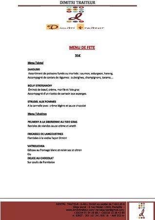 restaurant dimitri : Menus de fêtes en traiteur
