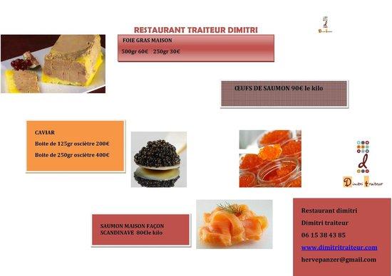 restaurant dimitri : Foie gras, saumon maison caviar oeufs de saumon sauvage