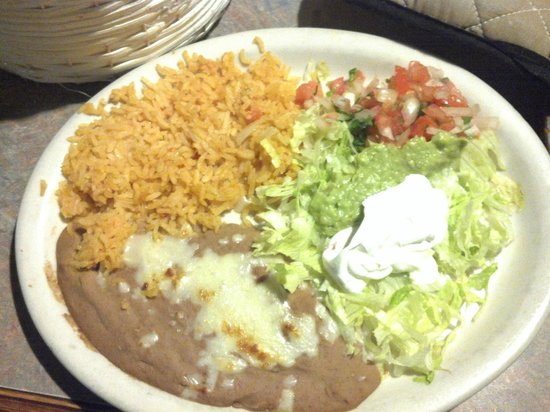 El Sombrero Mexican Restaurant: The usual rice and beans with a guacamole salad