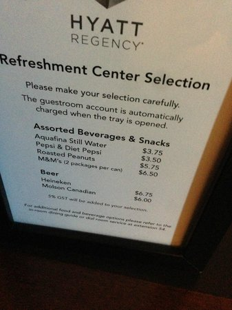 Hyatt Regency Calgary: mini bar prices