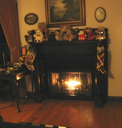 Cinnamon Inn Bed & Breakfast: Gas fireplace complete w/stockings