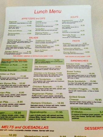 Selection of menu offerings, Homer's Restaurant  |  520 Ellice Ave, Winnipeg, Manitoba