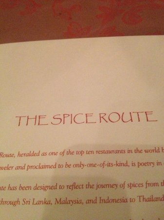 The Spice Route: The menu