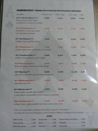L'Hospitalet de Llobregat, Spagna: carta de hamburguesas