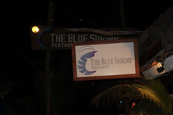 The Blue Shrimp: Blue Shrimp sign at night