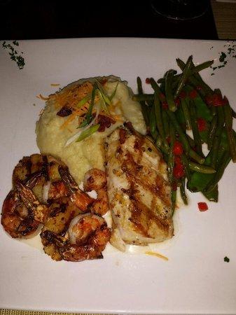 Jacks Seafood Bistro: Seafood grill, including Mahi Mahi scallops and shrimp with mashed potatoes