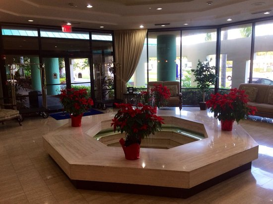 Boca Raton Plaza Hotel and Suites: The staff put out these lovely poinsettias for the holidays around the fountain in the lobby